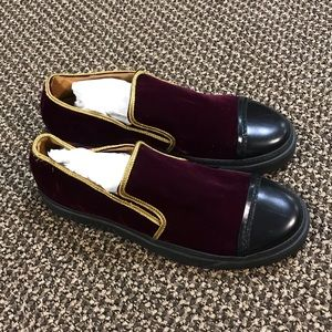 Marc Jacobs Burgundy Suede Slip On Loafers